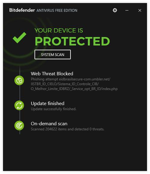 Интерфейс Bitdefender Antivirus Free Edition