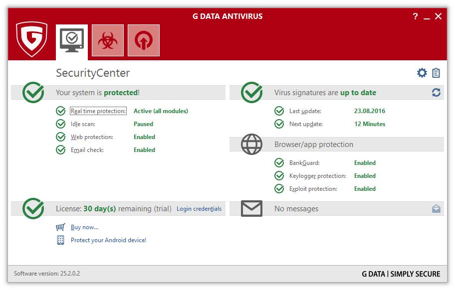 Интерфейс G Data AntiVirus
