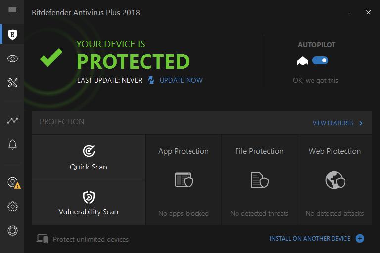 Интерфейс Bitdefender Antivirus Plus