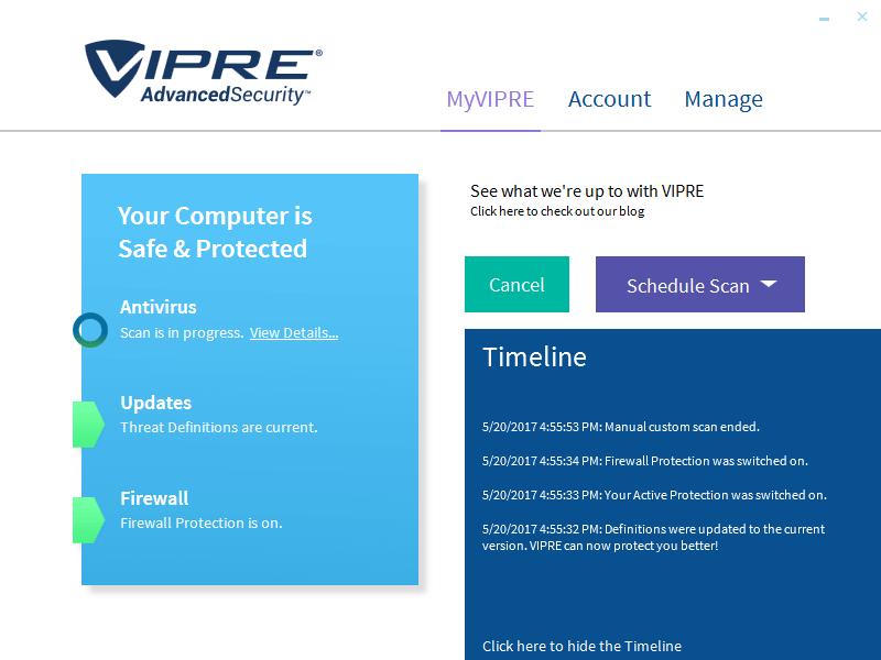 Интерфейс VIPRE Advanced Security