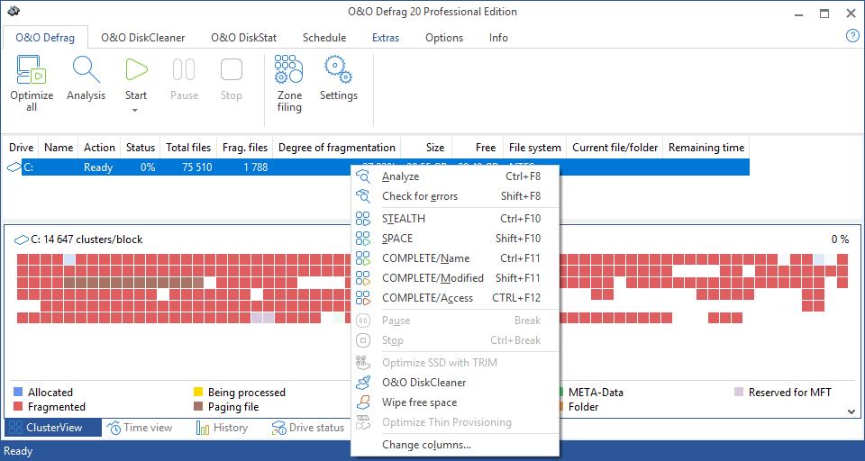 Интерфейс O&O Defrag Professional