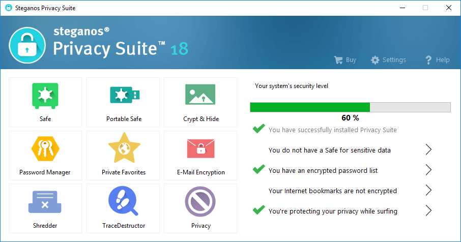 Интерфейс Steganos Privacy Suite