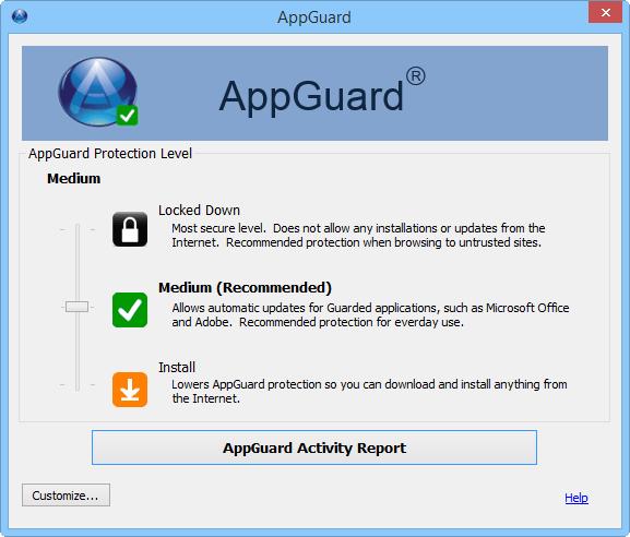 Интерфейс AppGuard