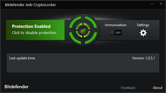 Интерфейс Bitdefender Anti-CryptoLocker