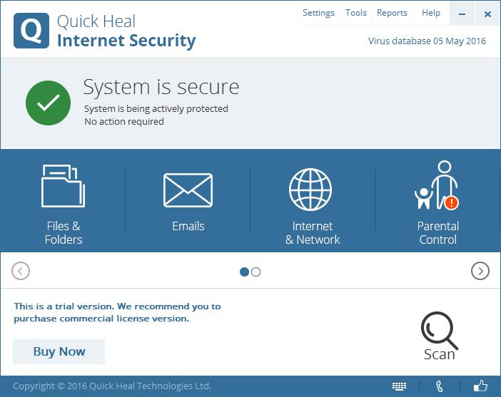 Интерфейс Quick Heal Internet Security