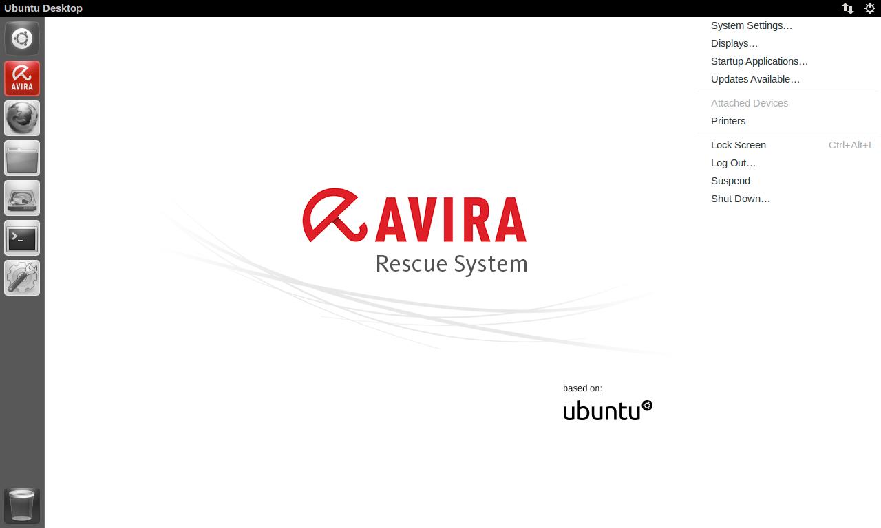 Интерфейс Avira Rescue System