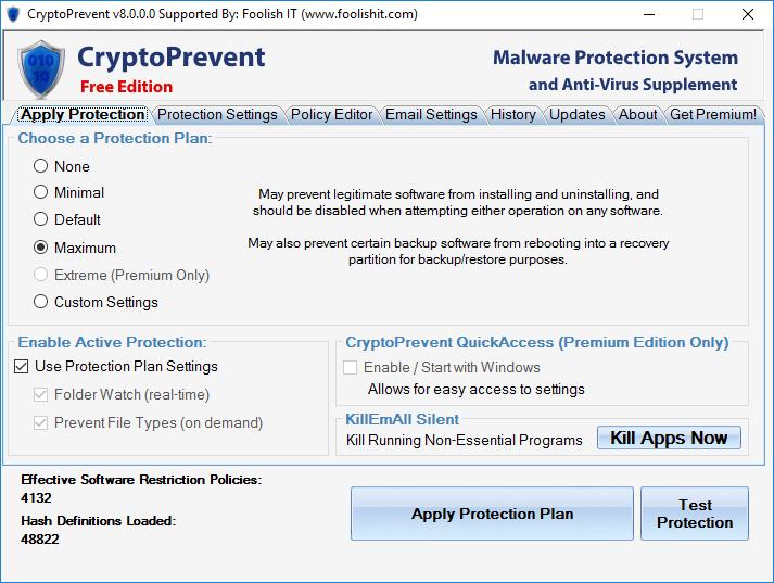 Интерфейс CryptoPrevent