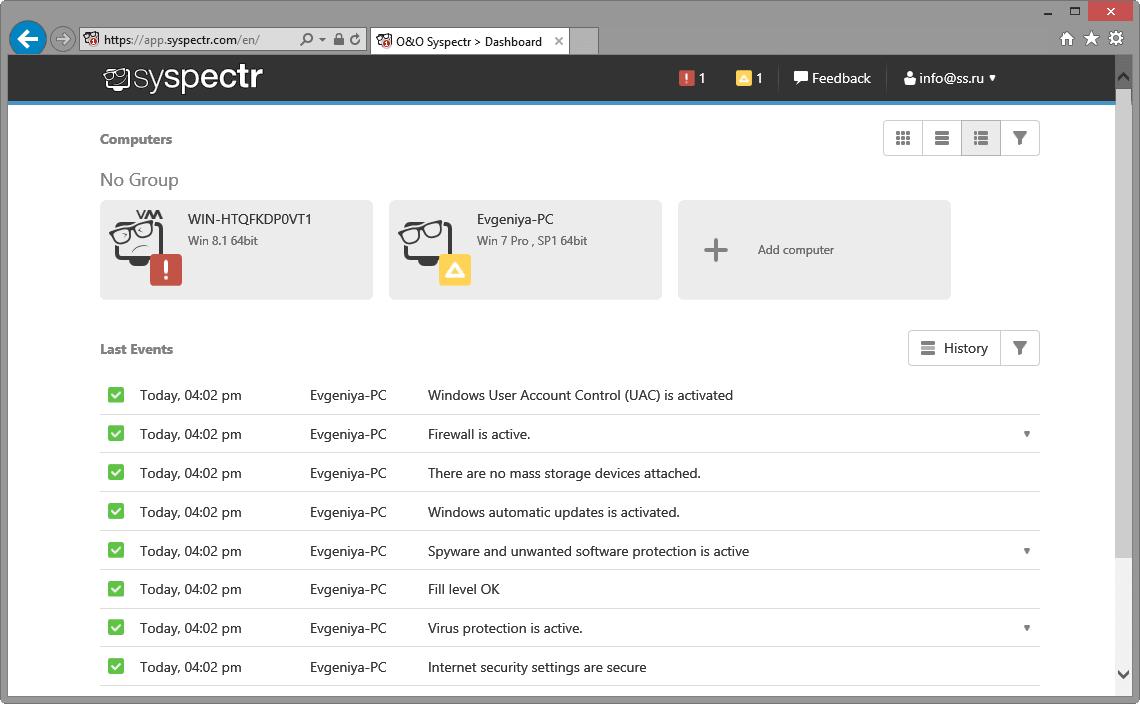 Интерфейс O&O Syspectr
