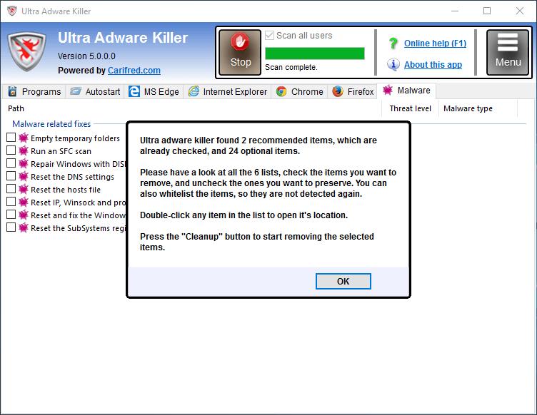 Интерфейс Ultra Adware Killer