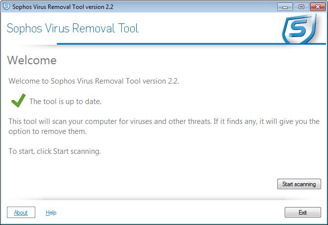 Интерфейс Sophos Virus Removal Tool