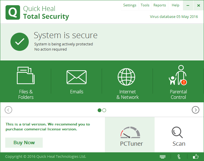 Интерфейс Quick Heal Total Security