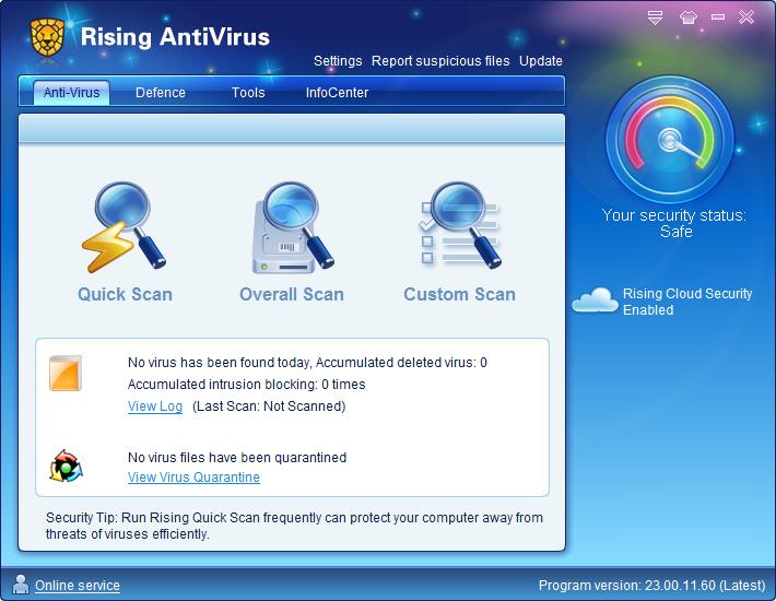 Интерфейс Rising Antivirus Free