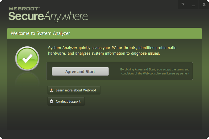 Интерфейс Webroot System Analyzer