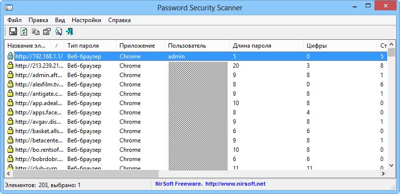 Интерфейс Password Security Scanner