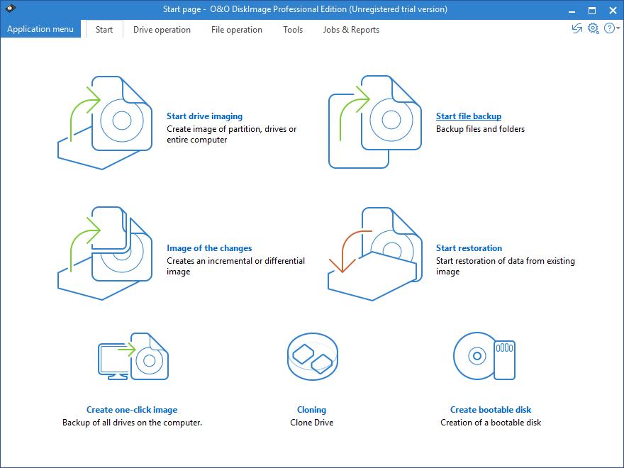 Интерфейс O&O DiskImage Professional