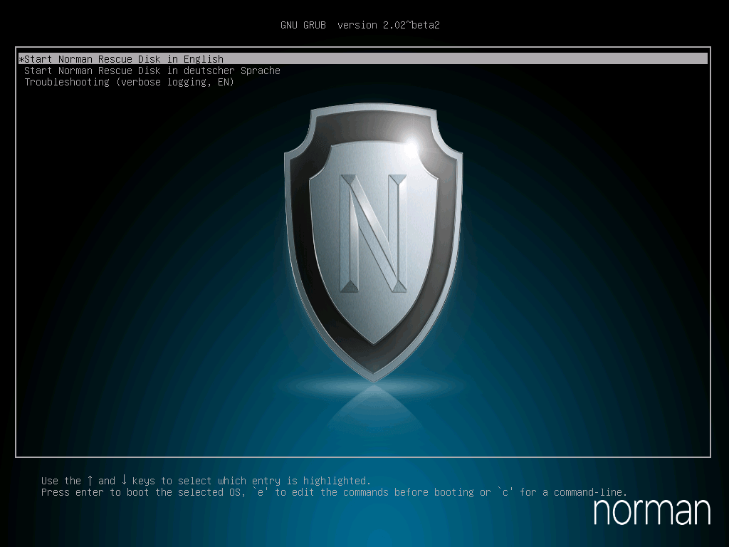 Интерфейс Norman Rescue Disk