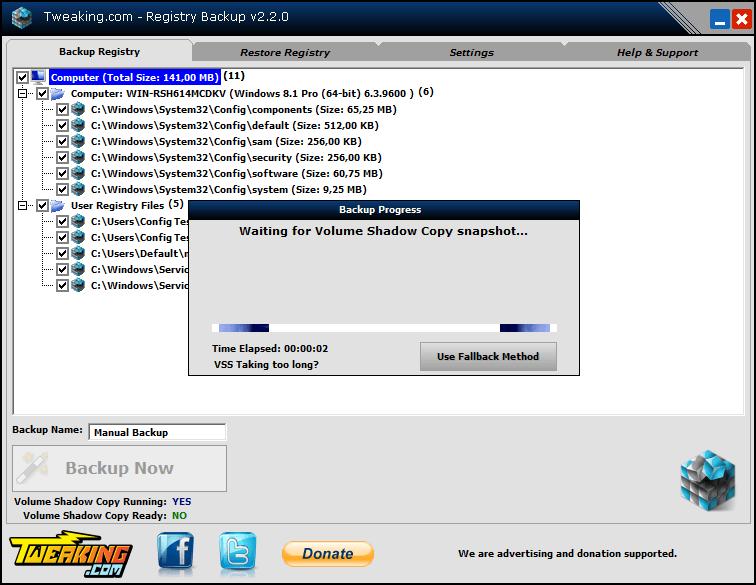 Интерфейс Registry Backup