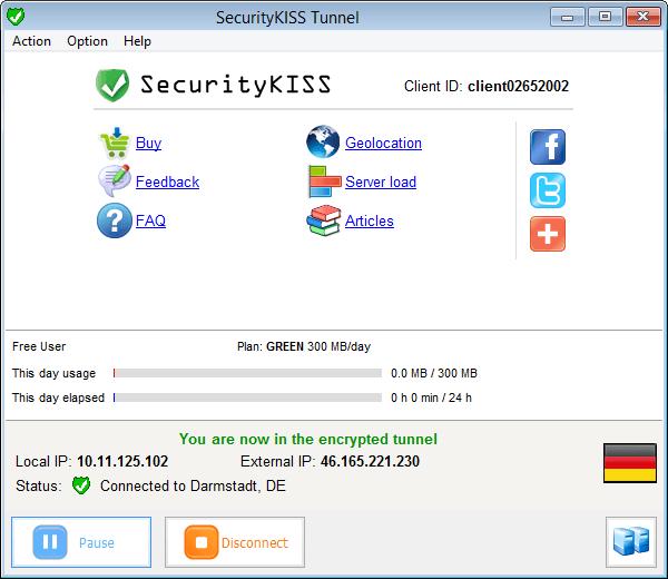 Интерфейс SecurityKISS Tunnel
