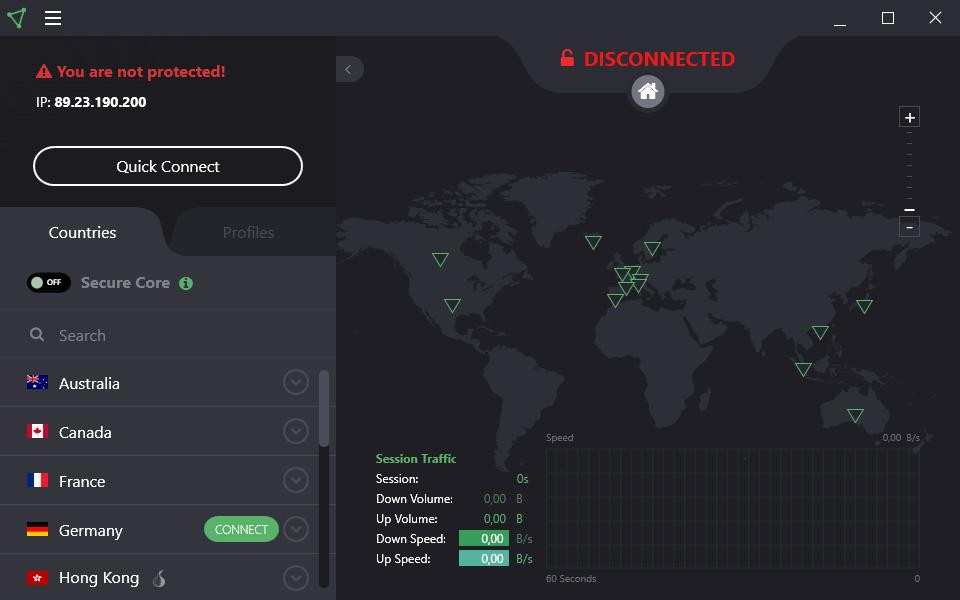Интерфейс ProtonVPN Free