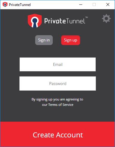 Интерфейс Private Tunnel VPN