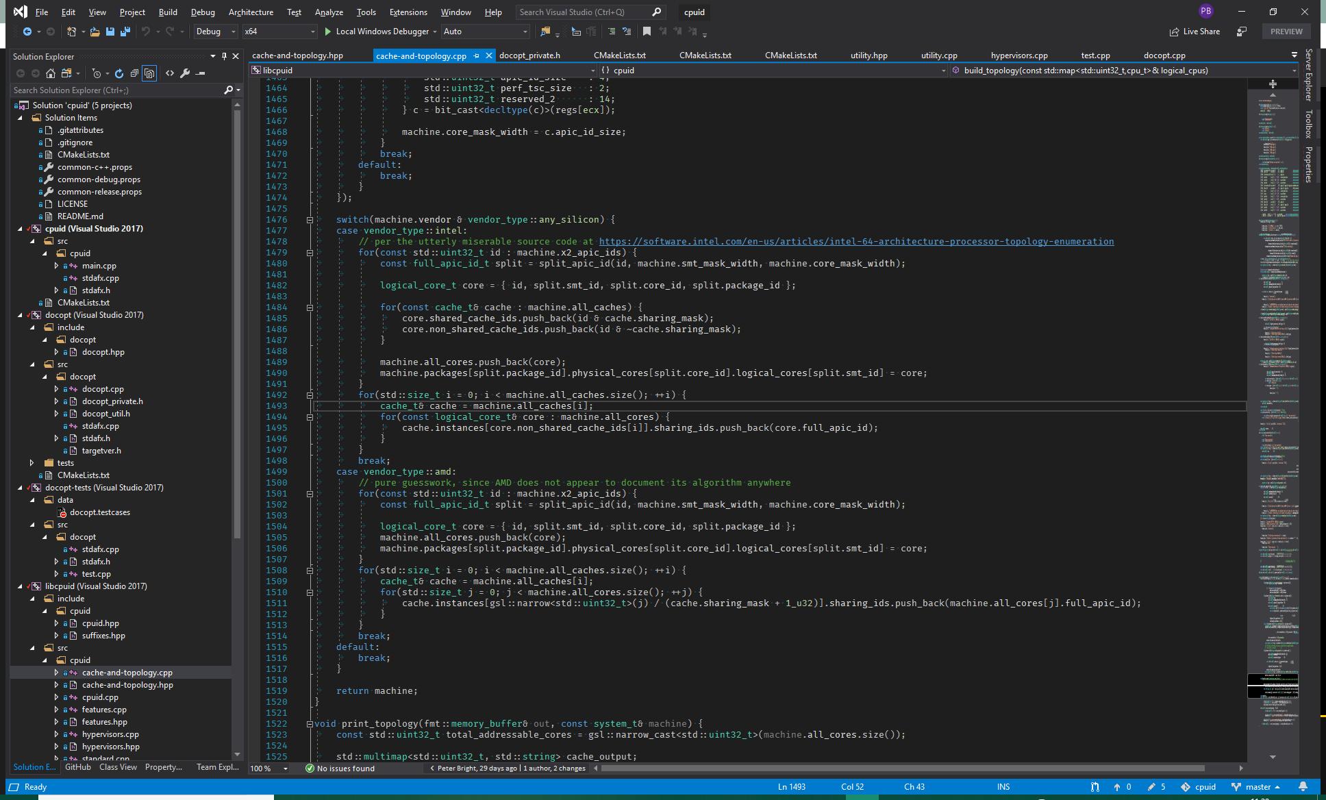 Интерфейс Microsoft Visual Studio Community